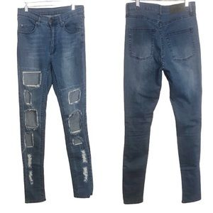 Cheap Monday Distressed Ripped Patchwork Jeans